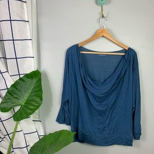 Eileen Fisher Blue Silk Blend Drape Long Sleeve